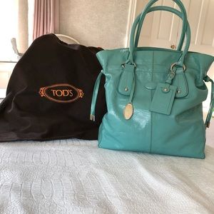 Tod's Tiffany blue patent leather tote